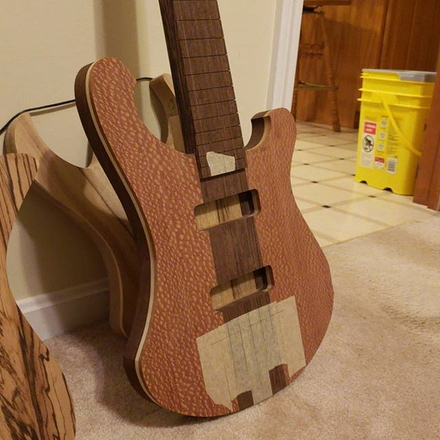 Made a little progress on this new #5string bass. Routed for Nordstrand big single pickups. I love Lacewood 😍 #bassguitar #guitar #guitarporn #guitarplayer #electricguitar #guitare #guitarra #guitarspotter #guitargear #guitartune #gtr #guitarworld #guitarsofinstagram #premierguitar #guitarpost #instaguitars #guitargeek #guitarlife #makersgonnamake #musician #music # woodworking #woodporn #handmade #handcrafted #newhampshire