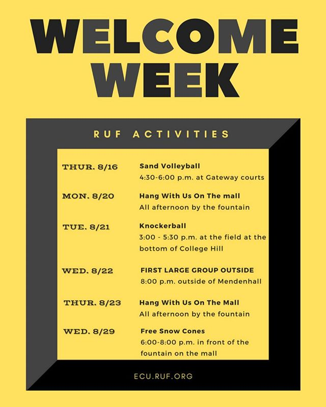Hey hey hey, we are just one week away from the first day of class. That means we have some welcome week activities planned for you all. We sure did miss you guys this summer, so come hang out with us and meet some new pals! #ECU22 #arrrgguf