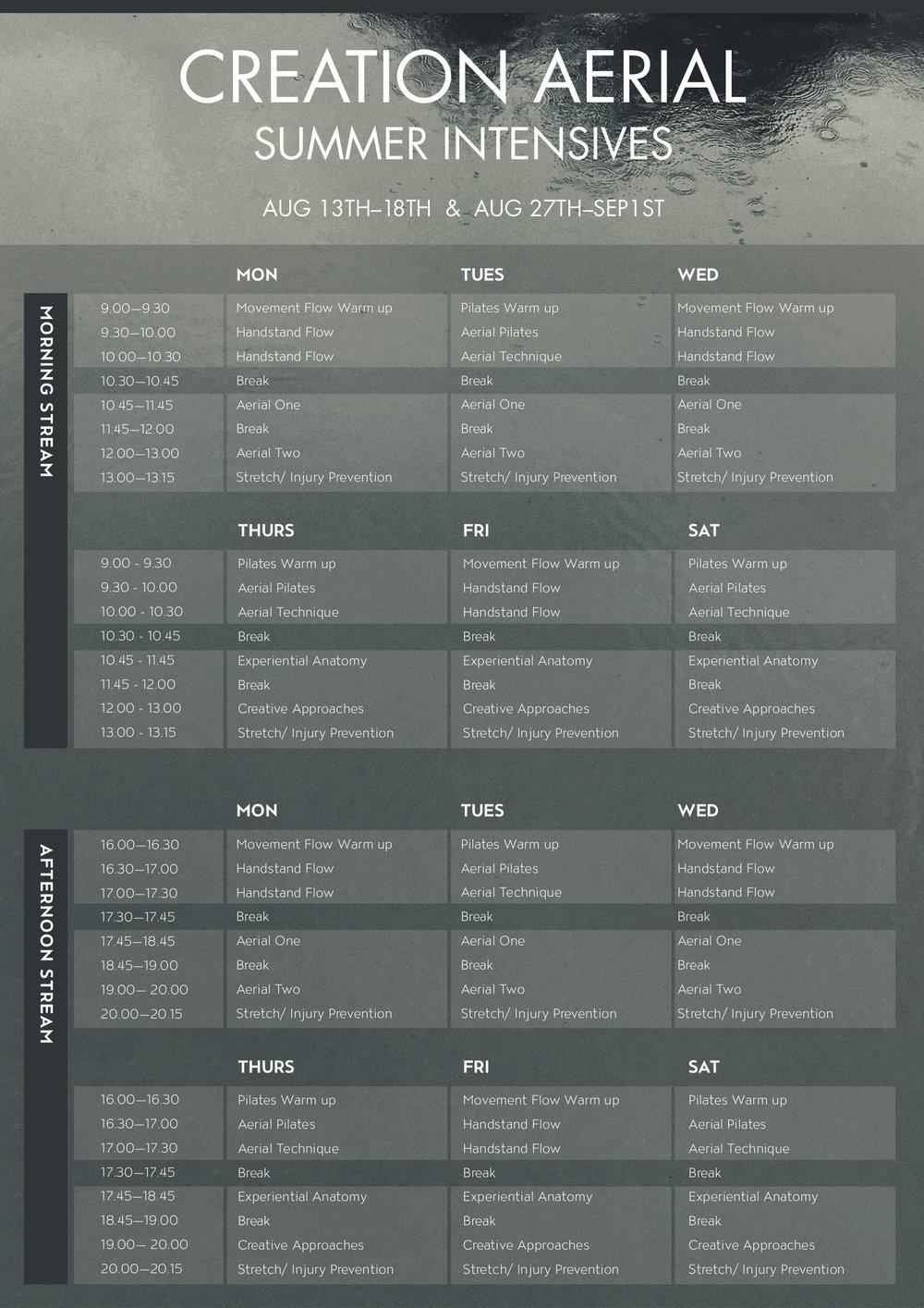 Summer Intensive Schedule