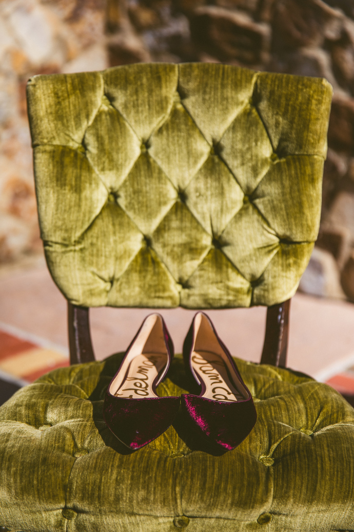 We love how the Bride's  Sam Edelman  velvet flats pop on  Valentino .