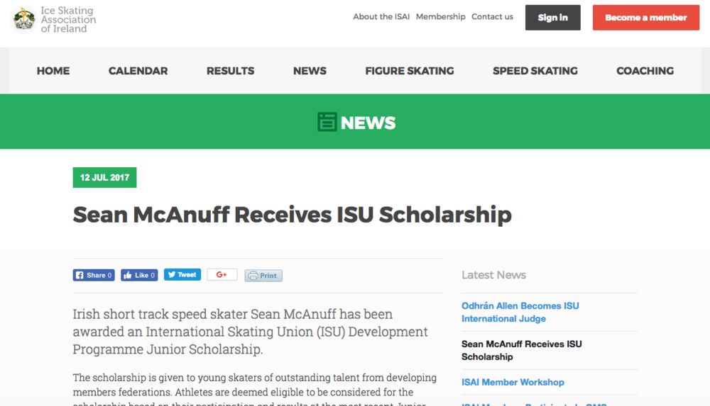 Sean Receives ISU Scholarship