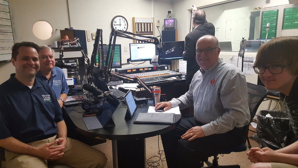 Brad White, R. Ph. and Paul White, R. Ph. are joined by Jack Ford, senior vice president of Beaver Excavating and Brad's son Reagan in the WHBC studio.