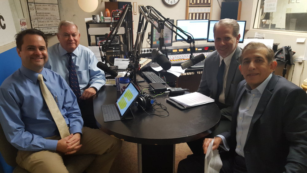 L-R: Health Matters Hosts Brad White, R. Ph, Paul White, R. Ph, Dr. Russell Ramey, general surgeon from Mercy Medical Center and Dr. Noman Rafique, oncologist and hematologist from Tri-County Hematology & Oncology prepare for the Health Matters program at WHBC-AM1480.