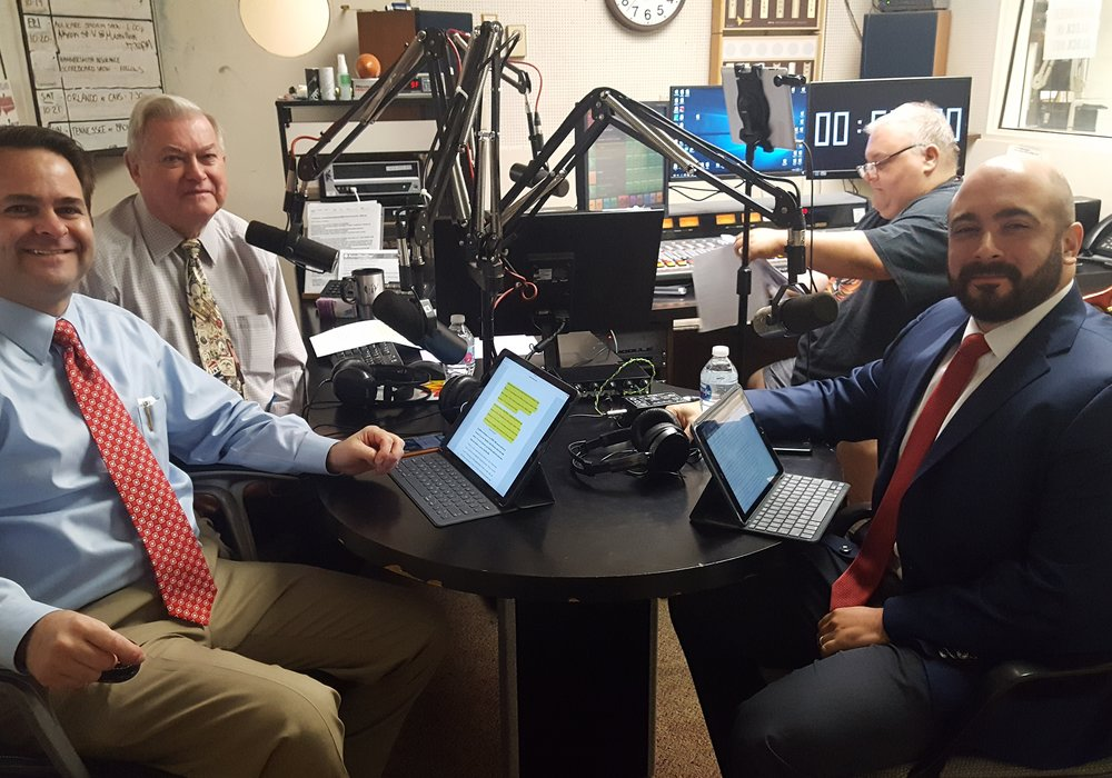 (L-R) Brad White, R. Ph., Paul White, R. Ph., WHBC producer Steve Potter and Antonio Ciaccia, Director of Government & Public Affairs for Ohio Pharmacists Association