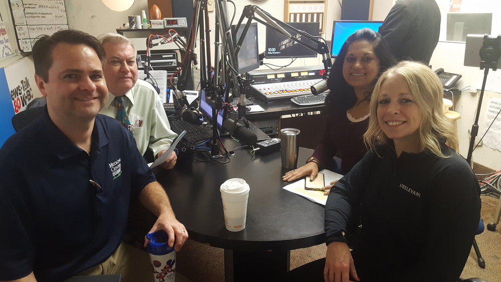 (L-R) Pharmacists Brad White and Paul White discuss stroke risks, treatment and  Aultman Hospita l's Interventional Neurology Program with Dr. Tanzila Kulman, cardiologist and Jennifer Brackmann, associate vice president of neurosciences.
