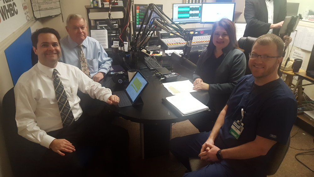 L-R: Health Matters hosts, Brad White, R. Ph. and Paul White, R. Ph. talk with Aultman Hospital's Jeannie Lee and Jonas Sykes.