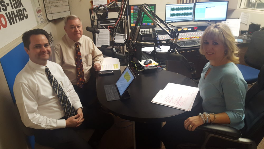 Hosts Brad White, R. Ph. and Paul White, R. Ph. talk with diabetes educator, Nicole Selinsky, Mercy Medical Center.
