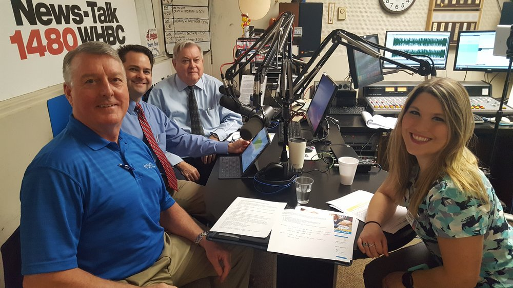 Mercy's Director of Business Development Ron Bensinger (front left) and Occupational Therapist Lindsey Kichi join hosts and pharmacists Brad and Paul White to talk about Occupational Therapy and an upcoming screening event at Mercy Medical Center.