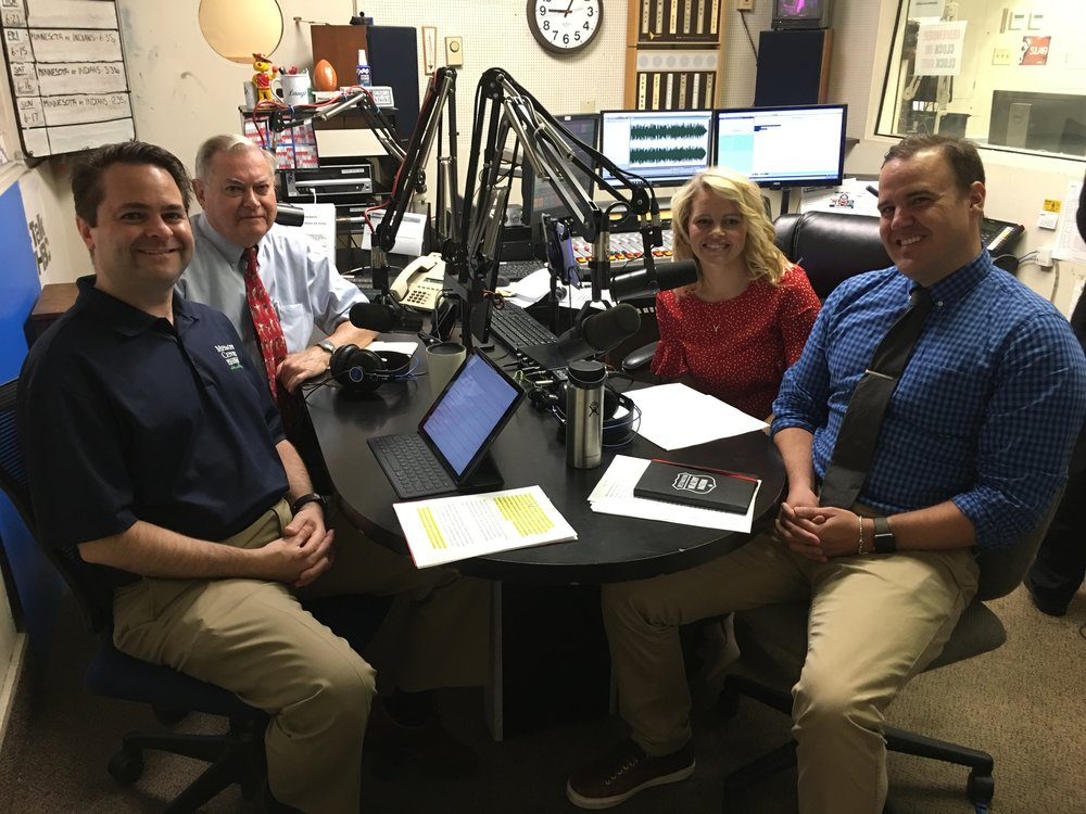 L-R: Hosts and pharmacists Brad White and Paul White discuss the Check. Change. Control. blood pressure program with Massillon City Health Department Public Health Nurse Audrey Milburn and American Heart Association Community Health Director Tim Lewis.