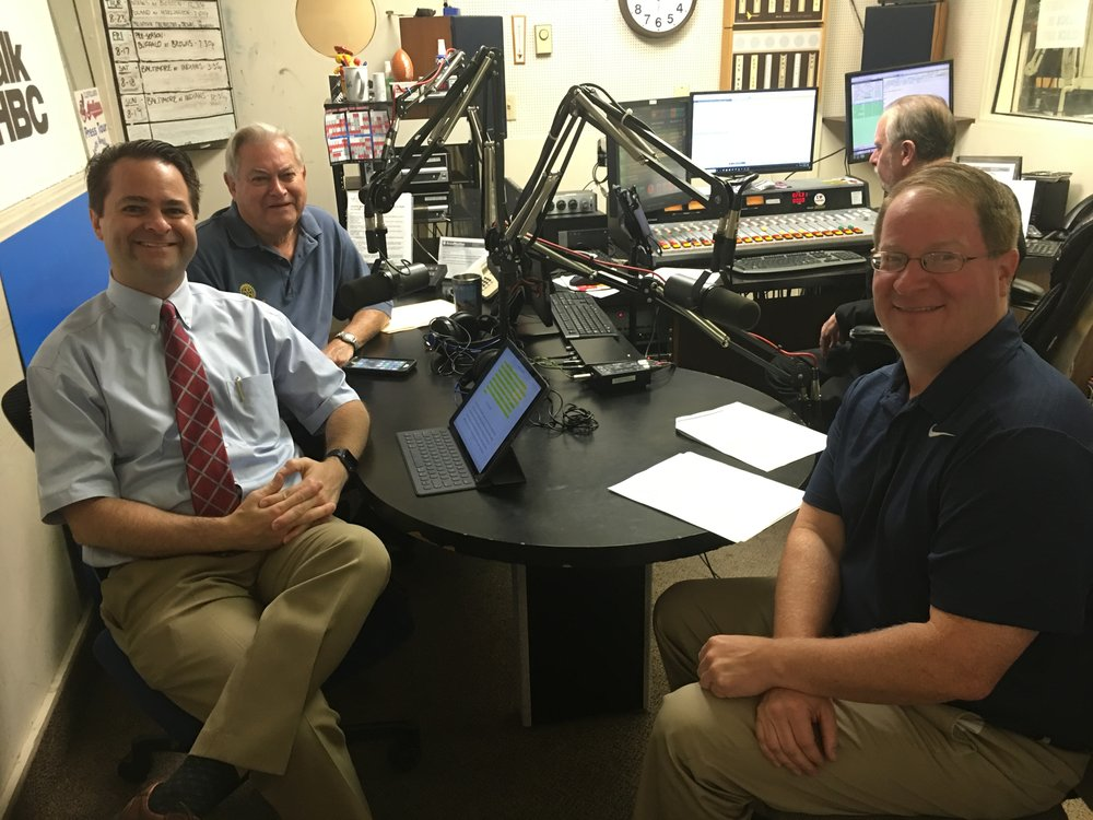 L-R: Pharmacists and hosts, Brad White and Paul White discuss concussions, head injuries and other sports-related injures with Dr. James Goff, sports medicine specialist from Cleveland Clinic Union Hospital.