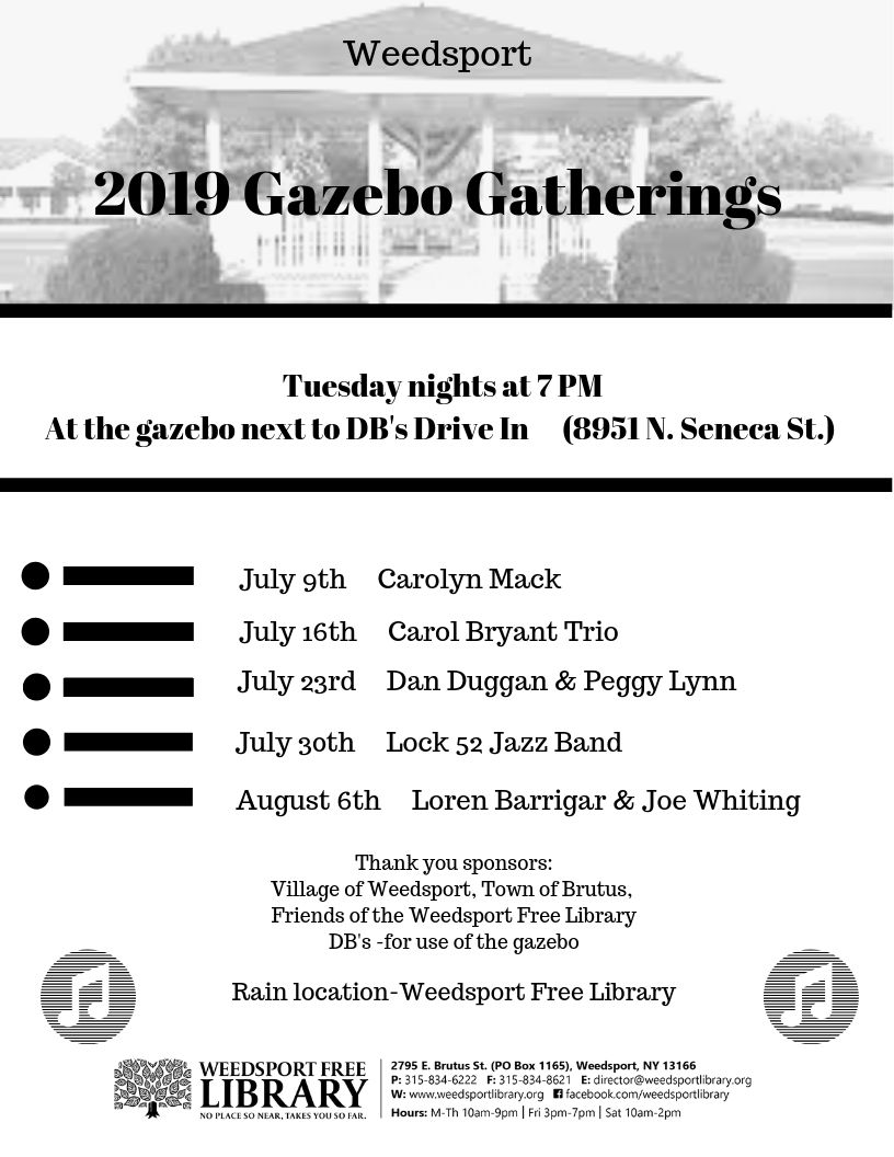 Announcing the 2019 Gazebo Gatherings Lineup! — weedsportlibrary org