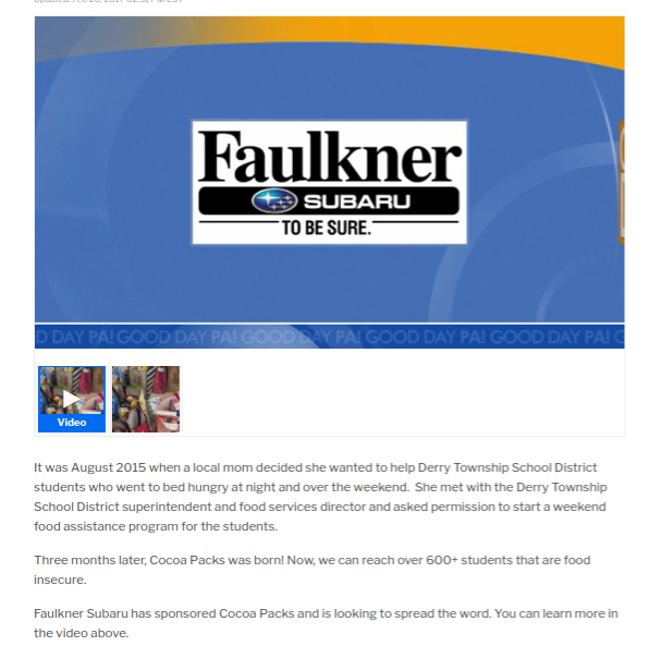 Click here to view!    ABC 27 News talks about Faulkner's sponsorship with Cocoa Packs Inc. and spreading the word.