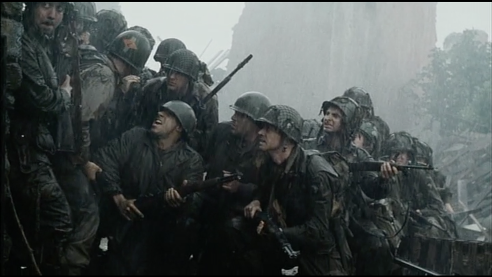 Even in shots like this with careful staging and attention to detail, in  Saving Private Ryan there is always a lack of clarity in the image. Other directors of Spielberg's ability exercise a degree of restraint when dealing with so many visual elements. Barry Lyndon never looks so dark in Kubrick's hands despite using similar camera modifications; Rashomon never looks so grainy in the rain in the hands of Kurosawa.