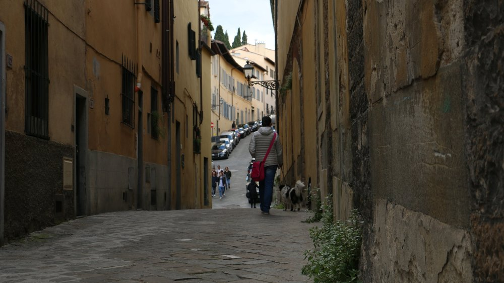 Florentine vias are deep, and amber colored. This effects the mood of being in them. Shot on a Cannon 70D.