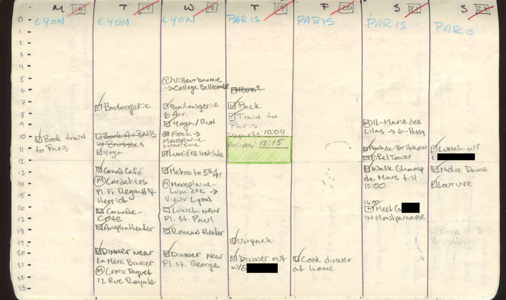 By the time I was in Lyon and Paris my calendars got extremely detailed. The information I wanted from a paper map got moved into the book and this let me be flexible while also outlining each day in some kind of depth.