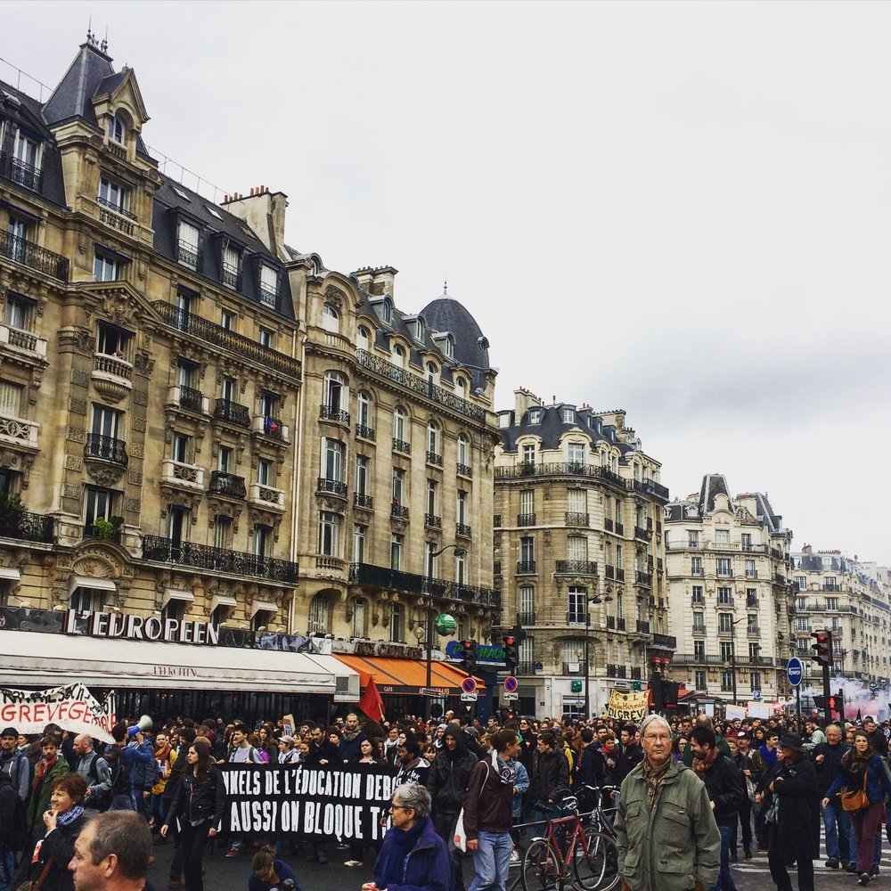 Protests just after arriving in Paris. Shot on an iPhone 5s.