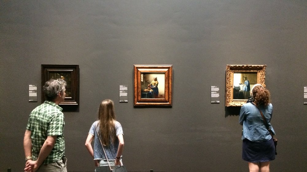 Vermeer in the Rijksmuseum. I sat perpendicular, looking straight on at these paintings, for more than twenty minutes as groups passed by in waves. For many reasons, Vermeer is one of the best painters in history and one of the most important to me personally. Shot on an iPhone 5s.