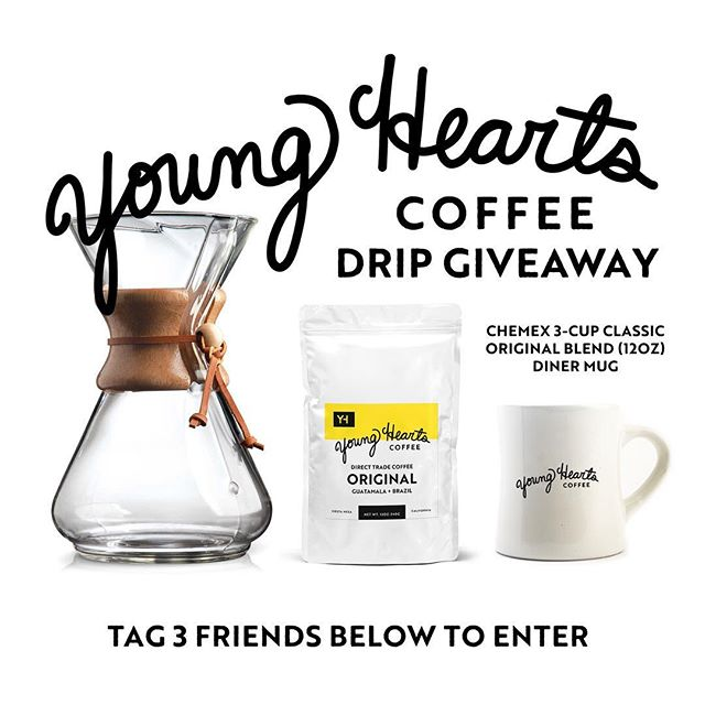 Tag 3 friends below for a chance to win a Drip prize pack featuring a bag of our #Original blend plus a #Chemex 3-cup classic and a #youngheartscoffee diner mug! Contest ends December 18th.