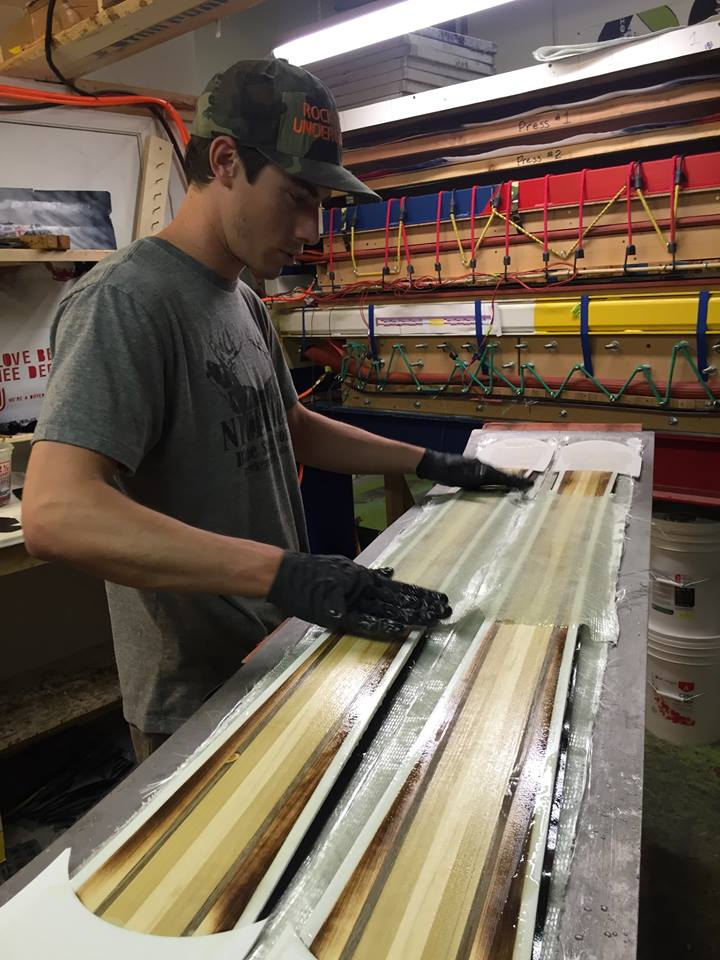 Handmade skis - RMU laying up skis.jpg