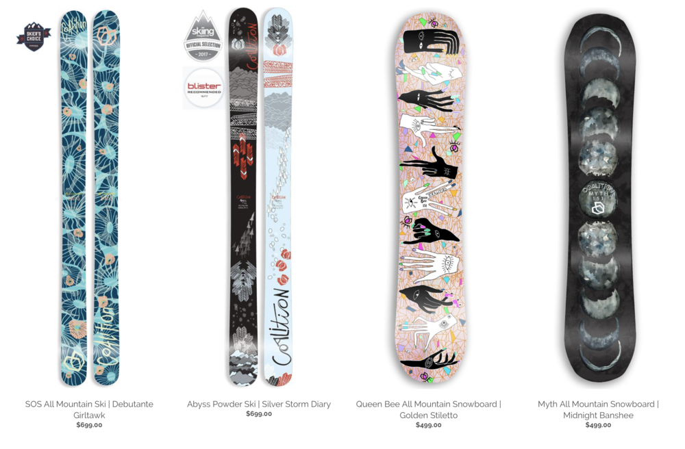 Coalition Snow Skis and snowboards