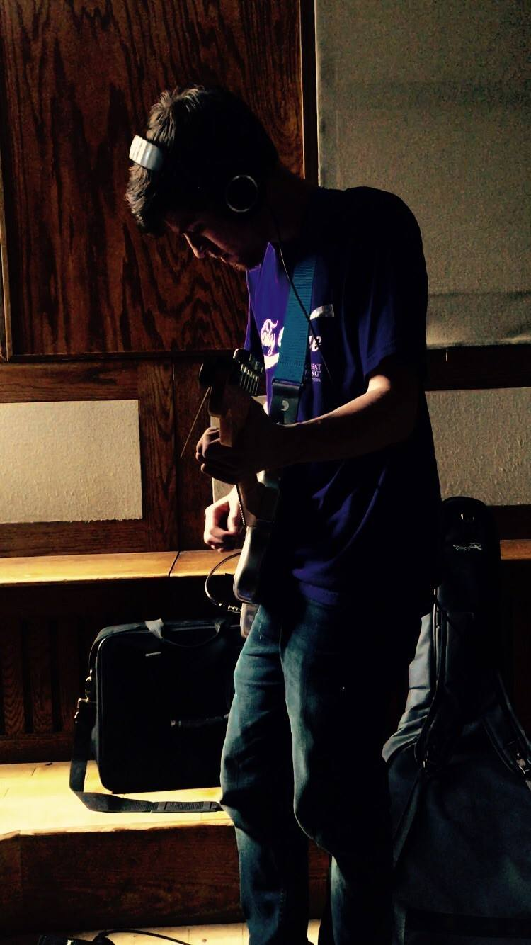 Miles recording guitar for the EP, April 2016.