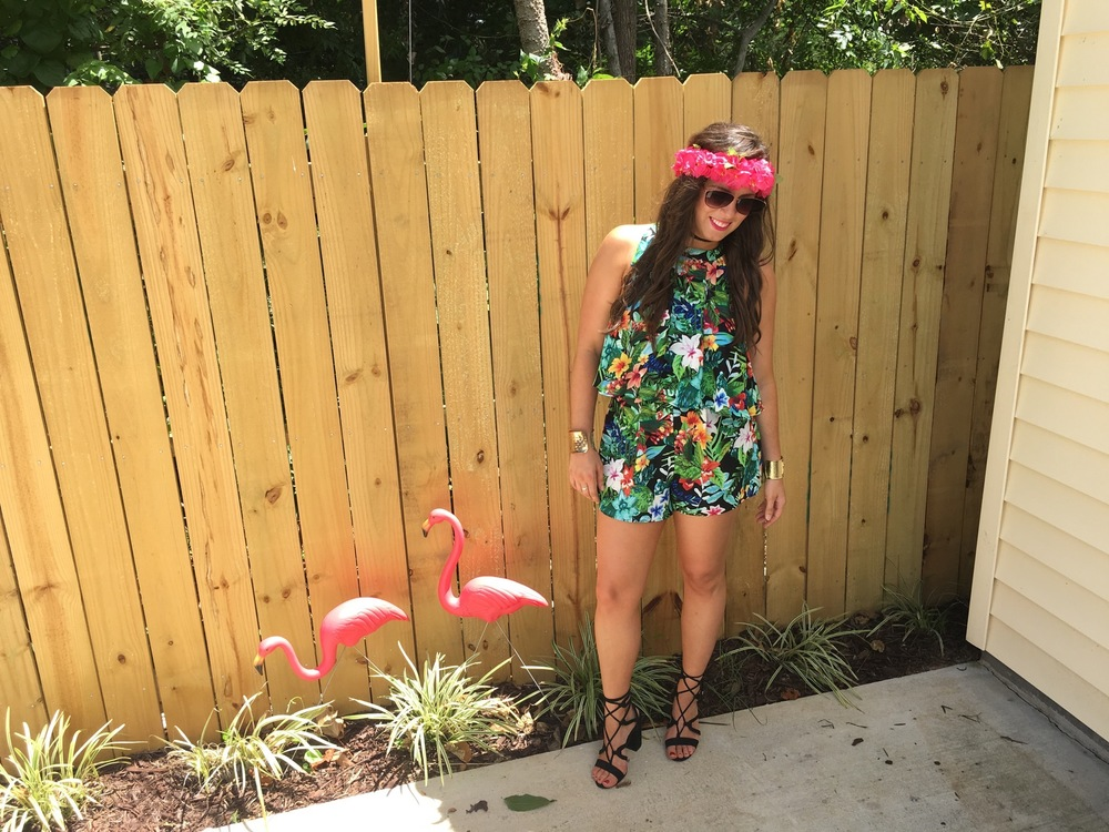 Photo: Jessica Valiyi  Sunglasses: Nordstrom   Choker: Vanessa Mooney   Tropical Lovefest Matteo Tie Top: E. Allen Boutique   Tropical Lovelfest Sawyer Short: E. Allen Boutique   Lace Up Heels: LOFT   Cuffs: T  arget  / L  illy Pulitzer