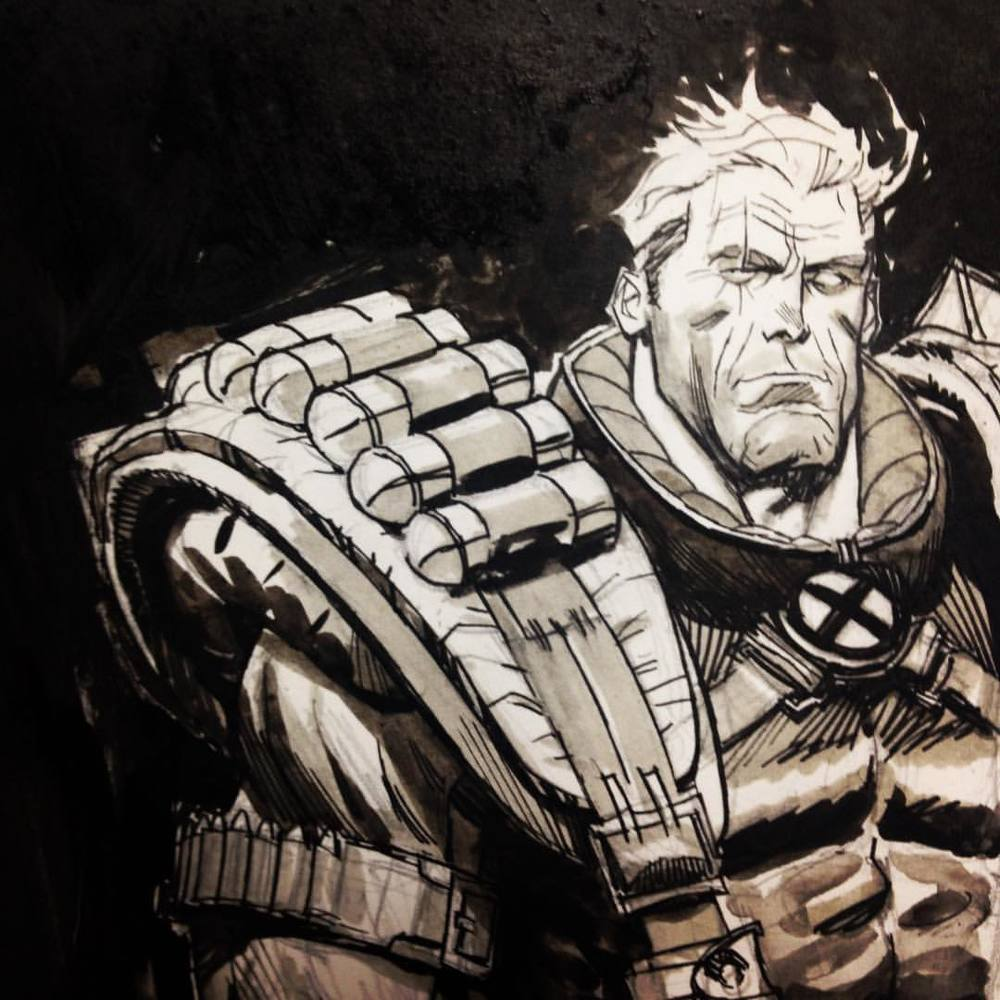 andrewcrobinson :     Cable. It's complicated. Ink, ink wash, @copicmarker on @strathmoreart Bristol. There's some spots available on my commission list. Contact @sequenceart for details. #cable #marvel #comics #andrewrobinson #art