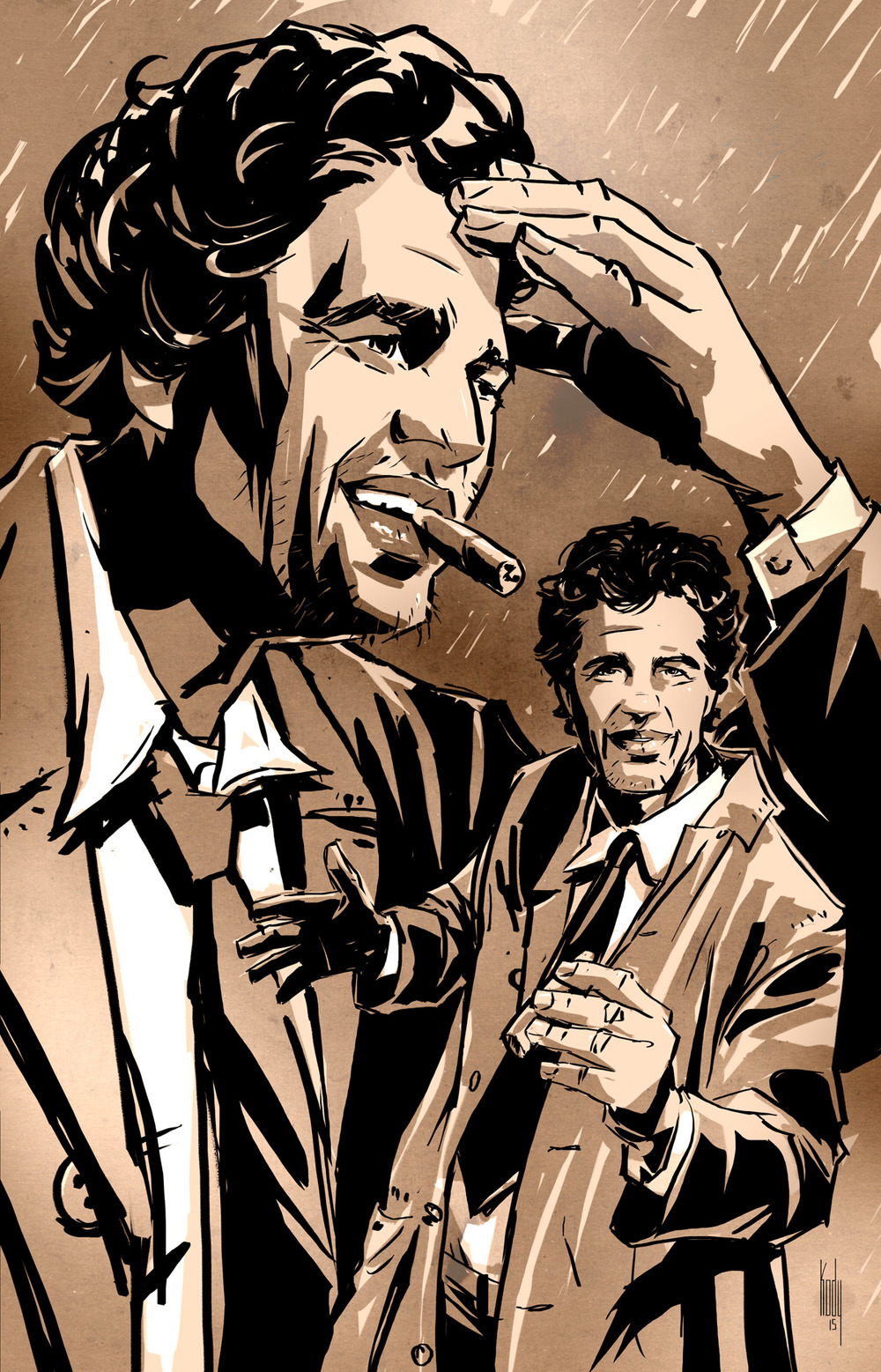 Columbo  The antagonist in a COLUMBO story is narcissism. Columbo's detective work is altruism. It's a wonderful story engine.  Back when Zodiac came out, Mark Ruffalo gave off the Columbo spark. I remember commenting on it immediately after the film. I wasn't the only one that saw it.  Meanwhile, screenwriter/producer Gary Whitta's been pushing for an actual Columbo project starring Mark Ruffalo and he's got some traction in  social media  and in  entertainment news .   To be clear, I'm not involved with the project at all, but I did want to offer my support online. Idid a quick concept piece last night to see what a Ruffalo Columbo might look like. Enjoy.