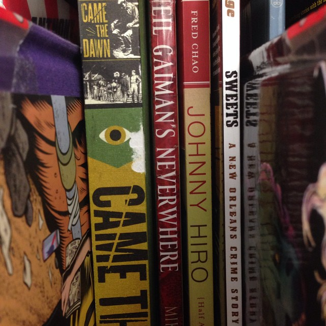Always fun to spot creator-owned work on the shelf. Good company, too.