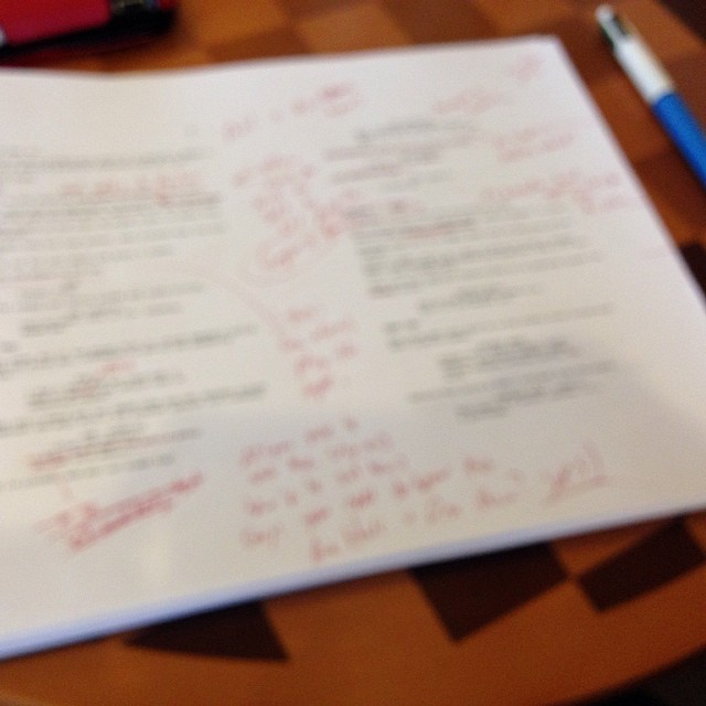This intentionally blurred spoiler-free script is inked up like a Suicide Girl. I hope all this red ink gets me to the black ink.