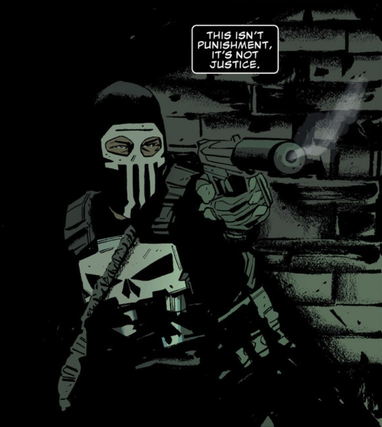 tattooedcomicguy :     Panel from Punisher #3 (2014). Written by Nathan Edmondson. Art by Mitch Gerads.     Need to pick this up soon. My pals Nate and Mitch are cranking along on a Punisher comic.