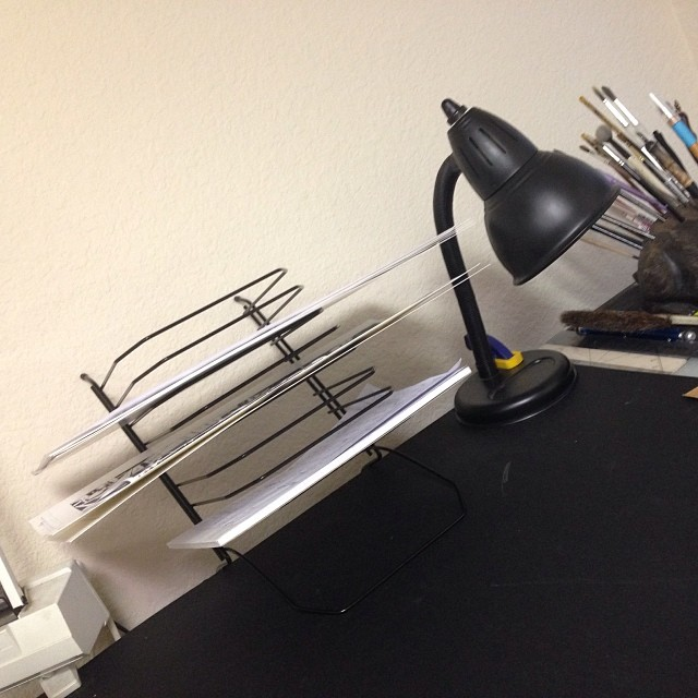New contraption on my drawing table, a sideways letter rack to hold pages in progress.