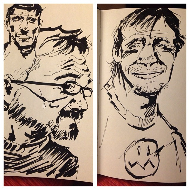 Long day. Kicking back at the hotel with a sketchbook and a Saints win.