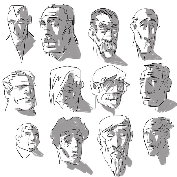 iPad head sketches.