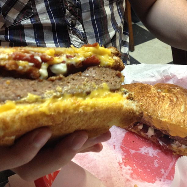 My pal Derrick invented a new sandwich. A bacon burger inside two grilled cheese sandwiches. #TheManChild