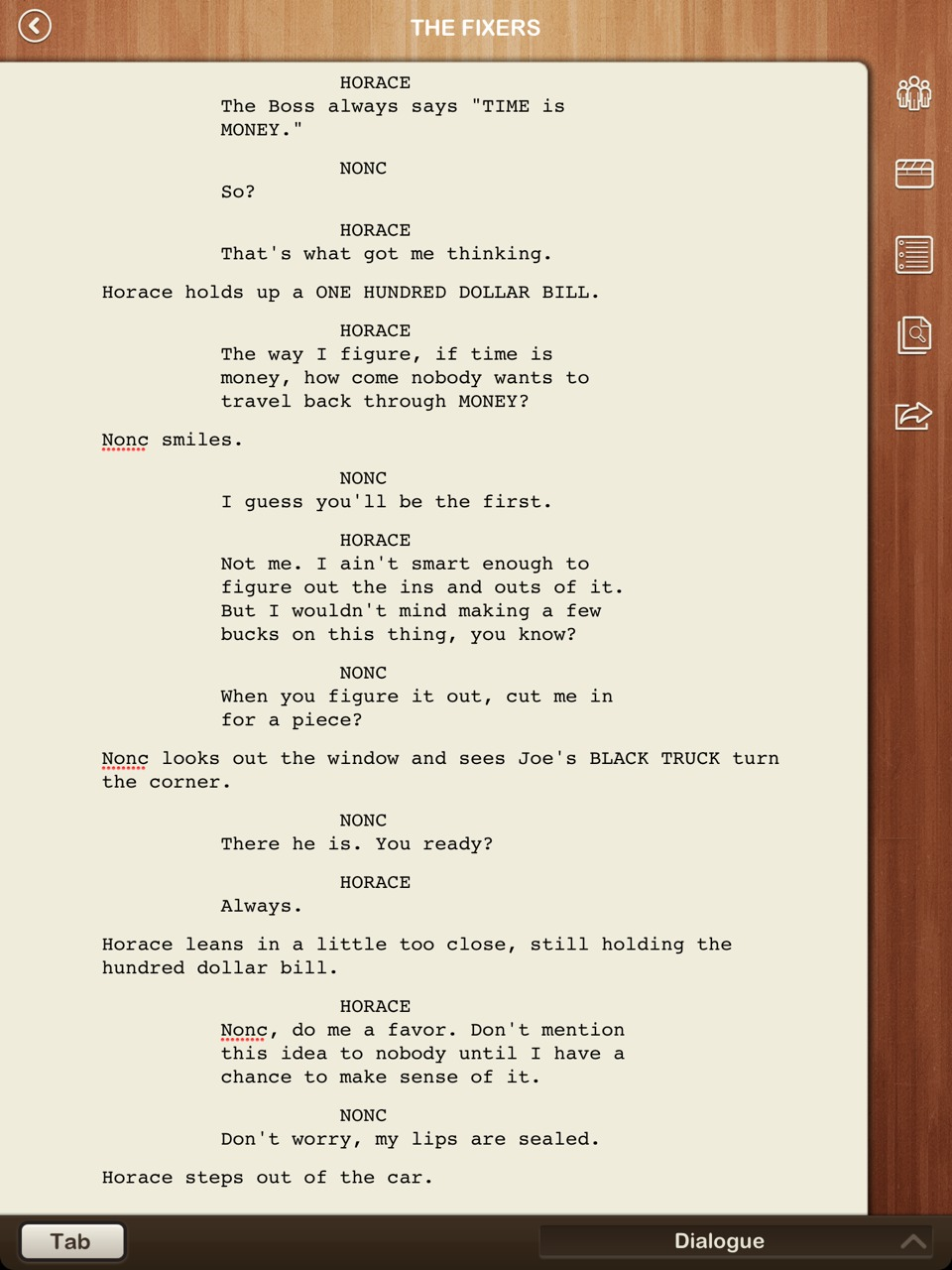 A chunk of non-spoiler script from my new comic THE FIXERS. Horace isn't very smart but you gotta appreciate the ambition.