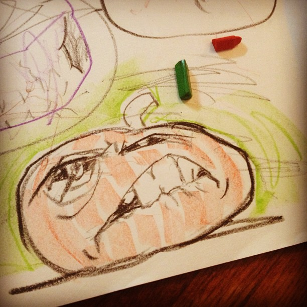 Me and baby are drawing pumpkin designs. #teamwork (Taken with  Instagram )