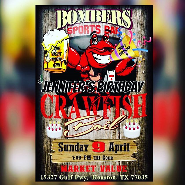 Come out and join party103radio.com and Hazard Krew Djs for crawfish good, music and Astros game today for Sunday funday and Jennifer birthday!