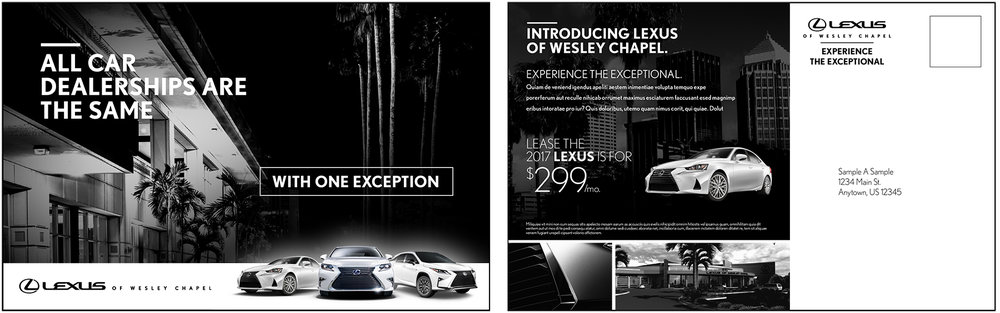 Direct mail creative we helped to develop for the launch of this new dealership in Florida.