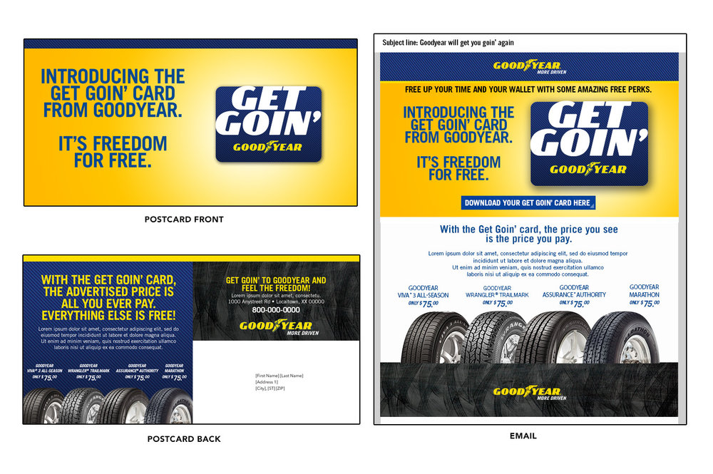 For Goodyear, we created this series of postcards and emails to help support the launch of their winback program targeting lapsed customers.