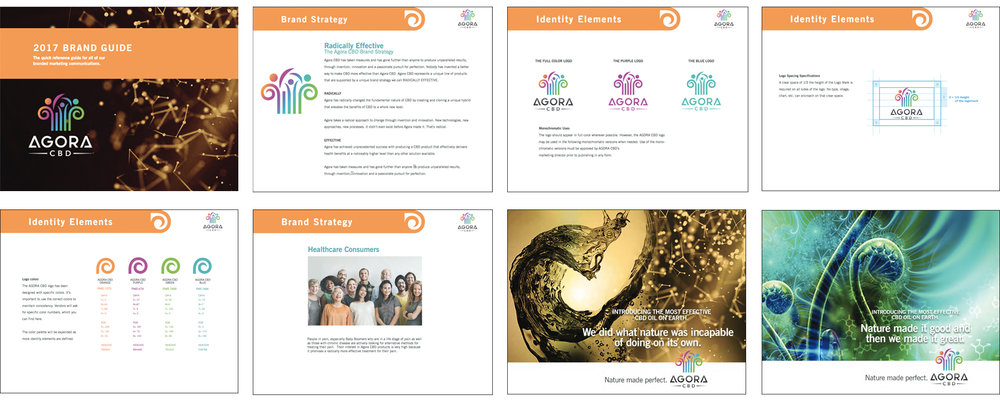 The above images are excerpts from the Agora CBD Brand Guide we designed and created for Agora CBD as one of the deliverables from our Brand Workshop. Here you can Preview the entire Brand Guide.