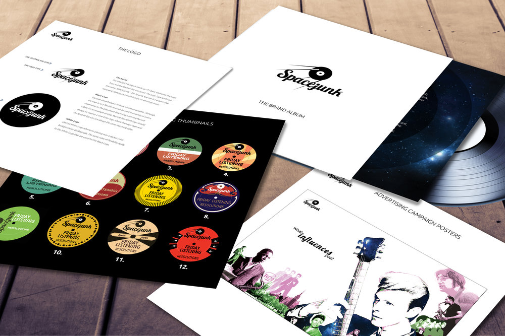 In keeping with their brand's passion for music artifacts, we designed Spacejunk's brand guide in the form of a record album and named it the Spacejunk Brand Album. It features all of the standard Brand Guide elements but was formatted to look like a fully loaded commemorative record album.