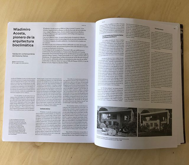 The research about Wladimiro Acosta carried out by Florencia Collo was featured in PLOT n42 magazine. He was a true pioneer back in the 30' of environmental design led by scientific research. Thank you @revistaplot ! @aasedstudio @atmos.lab