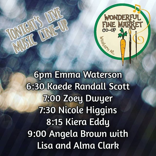 An amazing line-up of local talent tonight at the #wonderfulfinemarket  We are open tonight 6-10pm. No entry fee. Lots of gifts ideas, live music and great food.  #marketday #livemusic #westernNL #shoplocal #communitymarket #bettertogether #weareNL