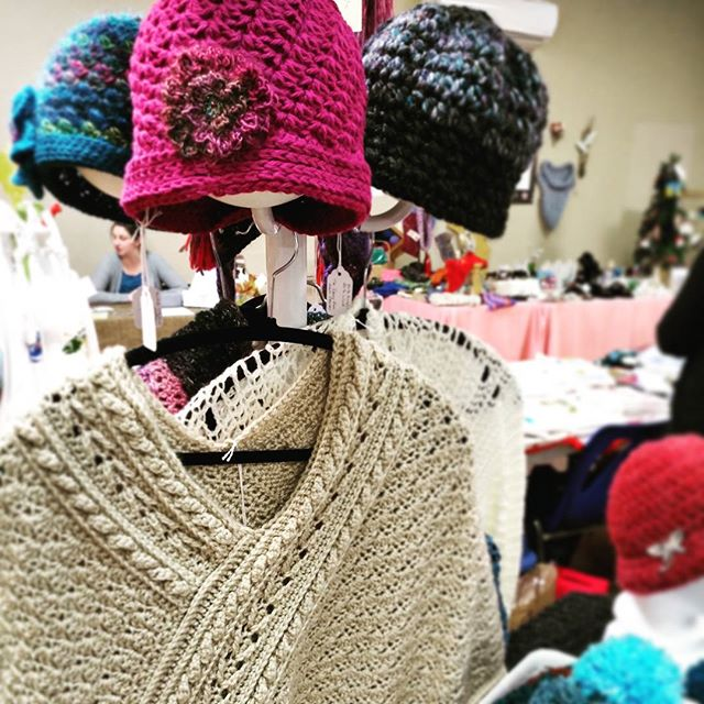 Lots of local products, made with right here in #WesternNL  Buy local and be happy! Free coffee, live music, that's how our community market rolls. #bettertogether #weareNL  #greatgiftideas ➡️ keeping warm and looking good. All possible with beautiful handknit hats, shawls and scarves by Heather King.  #myWFMarket #communitymarket #buylocal #shoplocal #greatfinds #locallymade #arts #crafts #NL #supportthemakers #nlarts #Farmersmarket #handmade #handknit #knitting #hats