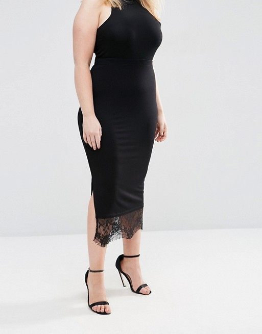 ASOS CURVE Ankle Grazer Pencil Skirt with Lace Hem