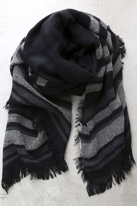 SOULMATE BLACK STRIPED SCARF - $18