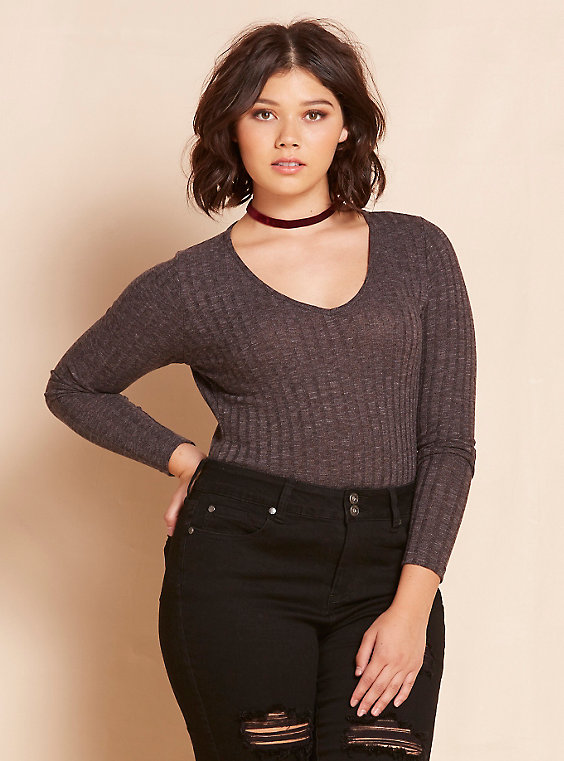Ribbed Marled Knit Bodysuit