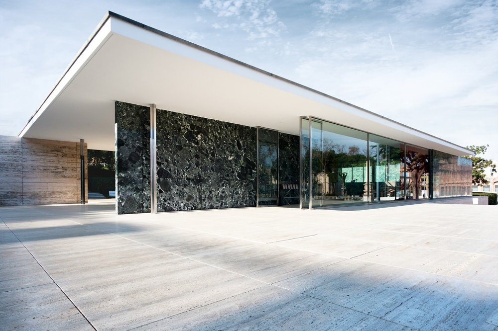 Barcelona Pavilion, 1929.  Glass, travertine, and marble.