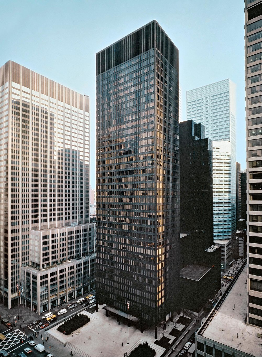 Seagram Building, 1958. Bronze and travertine.